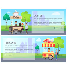 coffee and popcorn kiosk street food posters vector image