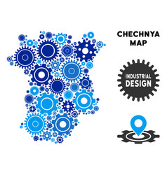 Collage chechnya map of gears vector