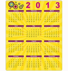 Colorful calendar in retro style for 2013 vector image