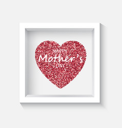 Confetti red heart on grey background in the frame vector