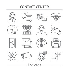 Contact Us Lines Icon Set vector image