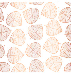 Copper foil scattered stylized leaves pattern vector