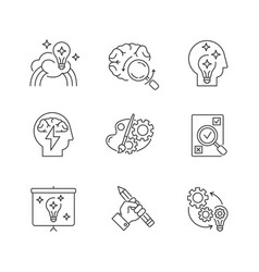 Creative mind workflow pixel perfect linear icons vector