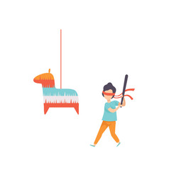 Cute boy breaking pinata with baseball bat kid vector