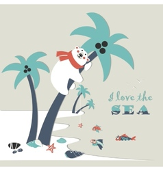 Cute polar bear climbed a palm tree vector