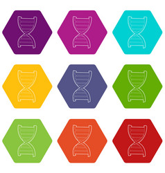 dna strand icons set 9 vector image
