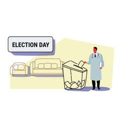 Election day concept doctor voter putting paper vector