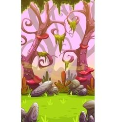 Fantasy cartoon forest landscape vector