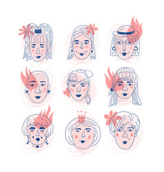 female faces icons informal girls feminism vector image