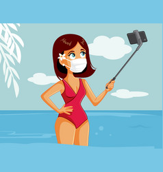 Female tourist wearing medical mask vector