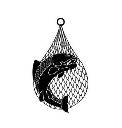 Fish in net fish catch vector