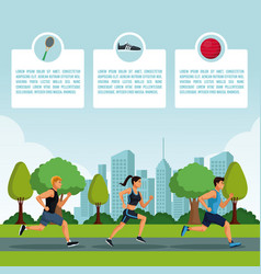 fitness people infographic vector image