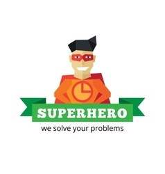 flat super hero logotype Cartoon style vector image