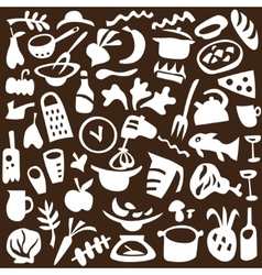 food cookery icons vector image