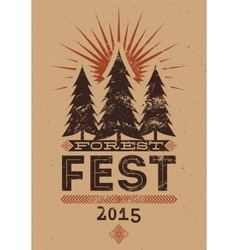 Forest Festival vintage typographic grunge poster vector