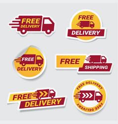 free delivery badge sticker set label design vector image