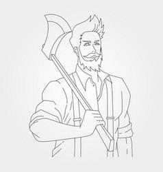 Gentleman carpentry holding ax design line art vector