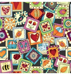 Geometric seamless patchwork style pattern vector