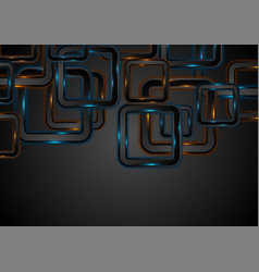 glowing neon blue orange squares abstract vector image