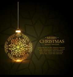 Golden christmas ball made with snowflakes on vector