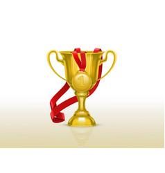 Golden goblet with gold medal winner cup vector