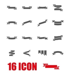 grey ribbon icon set vector image