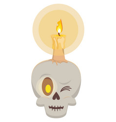 Halloween skull head with candle vector