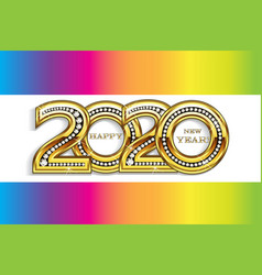 happy 2020 new year gold party celebration card vector image