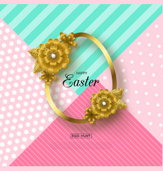 happy easter background with golden frame and vector image