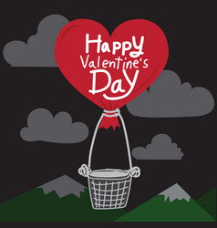 Happy valentines day with heart air balloon vector