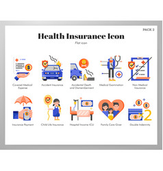 Health insurance icons flat pack vector