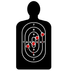 Human shape target with bullet holes vector