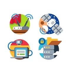 Internet technology icon set vector image