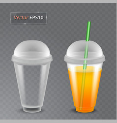 Juice and an empty glass fruit organic drink vector