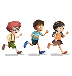 Kids running vector image