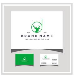 Letter d deer logo design and business card vector