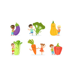 Little kids playing with big vegetables set vector