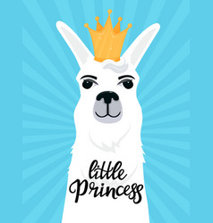 Little princess hand drawn lettering llama with a vector
