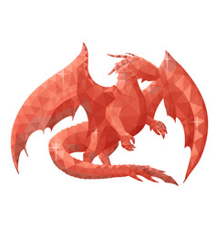 Low poly with red dragon silhouette vector