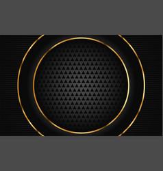 Luxurious dark black with golden line background vector