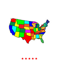 map of america icon different color vector image