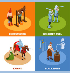 medieval isometric design concept vector image
