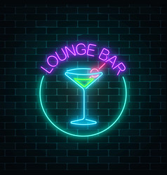 Neon lounge cocktails bar sign on dark brick wall vector