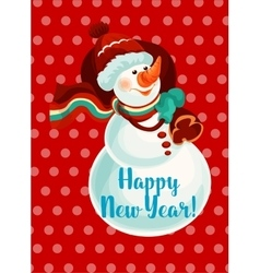 New Year snowman with gift bag vector