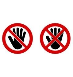no entry symbol black hand icon in crossed and vector image