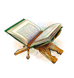 open holy book koran on a stand vector image
