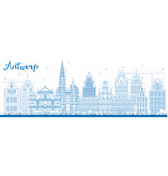 Outline antwerp skyline with blue buildings vector