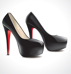 pair of black high heeled shoes vector image