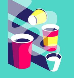 Paper coffee cup tea milk aroma flat vector