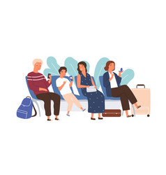 passengers sitting with baggage at airport lounge vector image